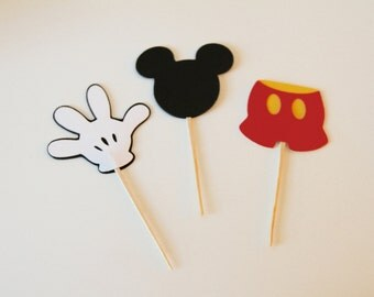 Mickey Mouse cupcake toppers/ birthday party/Mickey Mouse party decorations/ birthday supplies/party decorations