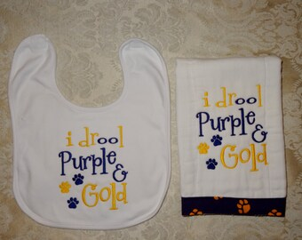 I drool purple and gold, Bib, Burp cloth, Purple and Gold, Tigers, Burp cloth bib with LSU theme, Tiger paw Fabric, baby Diaper burp & bib