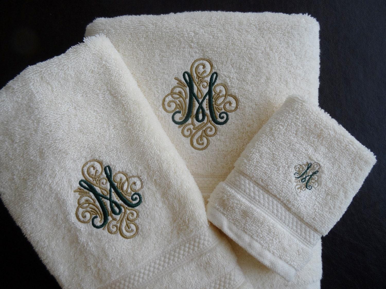 Personalized Bath Towels Monogrammed Bath Towel Set Fancy