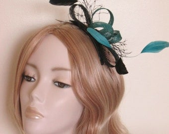 JADE GREEN and BLACK Fascinator, with sinamay loops, net, sequins and Coque feathers, on a comb