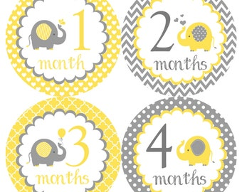 Cute Elephants Monthly Onesie Stickers - Yellow Grey Gray Boy Girl Gender Neutral