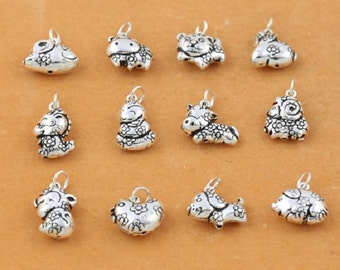 4 Sterling Silver Chinese Zodiac Charm, Sterling China Zodiac Charm Rat Ox Tiger Rabbit Dragon Snake Horse Goat Monkey Rooster Dog Pig -E558