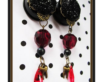 "Bleeding Tooth steampunk EAR PLUGS dangle earrings pick gauge 1/2"", 9/16"", 5/8"", 11/16"", 7/8"", 1"", 1 1/16"" aka 12, 14, 16, 18, 22, 25, 28mm"