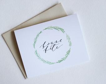 Bonne Fete Wreath Card - Birthday / Happy Birthday / French Card