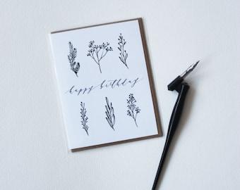 Happy Birthday Ink Greenery Card - Birthday Card