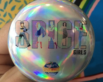 """SPICE GIRLS Spiceworld Sporty Ginger Baby Posh Scary spice euro dance girl group movie 90s style British girl power 2.25"""" holographic button"""