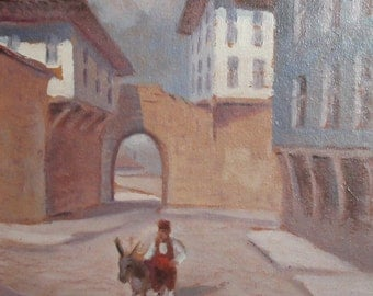 Vintage oil painting impressionist cityscape signed