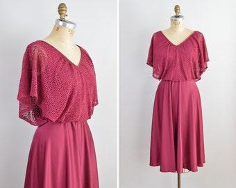 70s Boho Dress, Vintage Disco Dress, 1970s Retro Party Dress, Vintage Dress XS Small, Full Skirt Bohemian Dress, Flutter Sleeve Hippie Dress