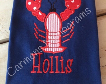 Personalized Lobster Applique on Tshirt or Bodysuit, Boy or Girl Lobster Applique, Boy or Girl Summer Applique