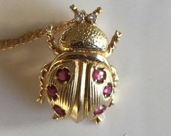Beautiful Diamond & Ruby Beetle Scarab Necklace
