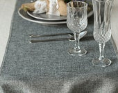 "14 inch Gray Burlap Table Runner-Grey Table Runner Length Available for 48"" 72"" 84"" 96"" 108"" 120"" 132"" 156""-Rustic Wedding Deor FUB034CM-GRE"