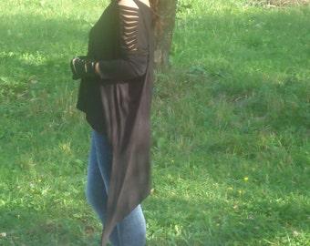 Unique black oversize tunic/Loose tunic/Asymmetrical blac tunic/Extravagant tunic/Maxi size black tunic/Party black tunic/All sizes-Us Uk Eu