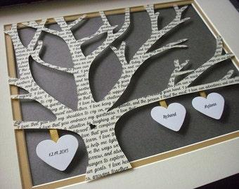 Paper Anniversary Gift, Customized Wedding Gifts, 11X14 UnFramed 3D Paper Tree Wedding Gift, Anniversary, Wedding Song Lyrics