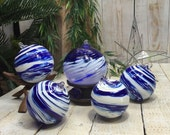 Glass Ornaments, Cobalt Blue Ornaments, Blue and White, Glass Bulbs, Christmas Bulbs, Hand Blown Glass Ornaments, Blue Christmas Ornaments