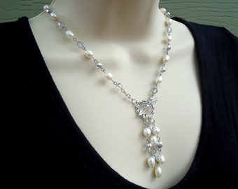 Freshwater Pearl Lariat Necklace.Crystal.Toggle plated in sterling silver.Pendant Necklace.Statement Necklace.Bridal.Choker.Gift.Handmade.