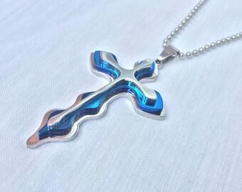 Blue 3-D Cross Pendant Necklace
