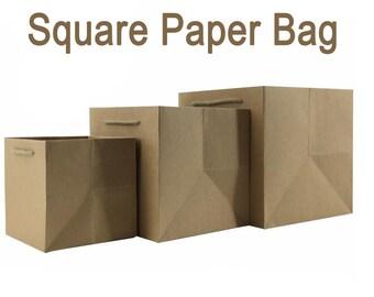 10 x Square Kraft Paper Bags with Handle / Kraft Shopping Bags / Weddings / Gift bags / Favor bags /  Kraft Pizza Bags  TZ426