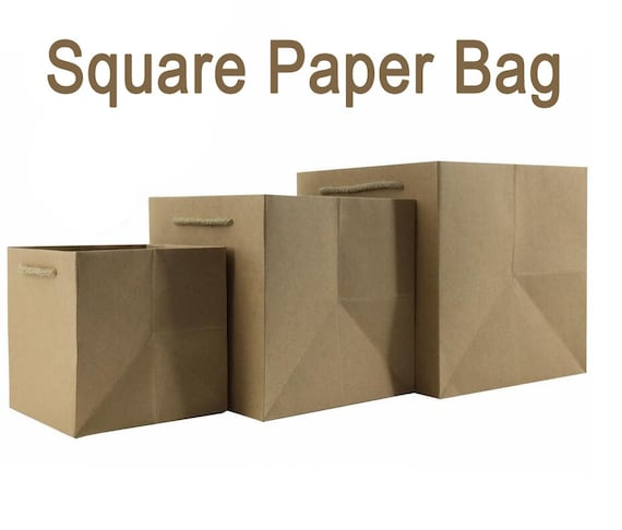 10 x Square Kraft Paper Bags with Handle / Kraft Shopping Bags ...