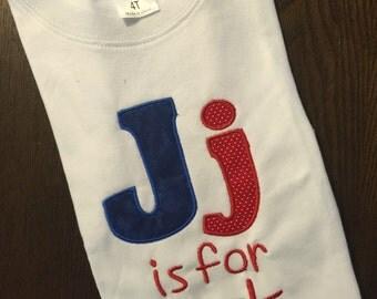 J is for jack monogrammed tee shirt