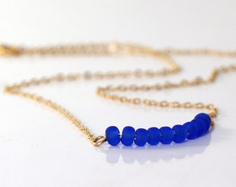 Blue necklace , Cobalt blue , Beaded Bar Necklace, Gold and blue, 14k Gold Filled Dainty Necklace, Layered Necklace,
