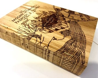 Mauraders Map Harry Potter woodburned box. Free shipping. Wood burned stash box. Custom personalized fake book box. Cigar, jewelry, card box