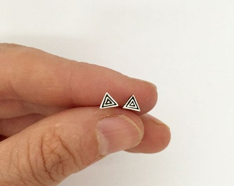 Minimalistic Sterling Silver Triangle Studs Everyday Jewelry