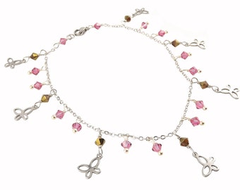 Anklet stainless Butterfly Swarovski Crystal pink and Brown