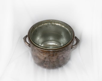 Vintage Ice Bucket Silver On Copper