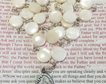 Chaplet of the Blessed Sacrament, White disc mother of pearl beads, Oval Blessed Sacrament medal, silver plated wire (10)