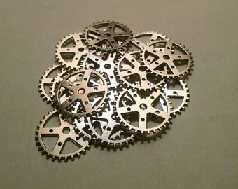 Small Medium and Large Silver Tone Gears