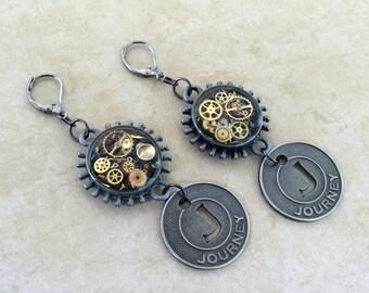 Gunmetal Drop Earrings, Watch Gear Earrings, Round Dangle Earrings, Steampunk Earrings, Gunmetal Jewelry, Watch Part Earrings, Earrings