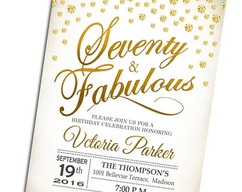 70th Birthday Invitation / Seventy and Fabulous / Any Age / Gold White / Diamonds / Digital Printable Invite/ Customized