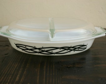 Vintage Pyrex Promotional Black and White Barbed Wire Divided Dish with Lid