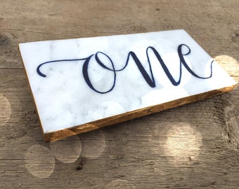 Carrara Marble Table Number Signs