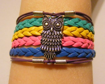 Owl bracelet, owl jewelry, owl charm bracelet, leather owl bracelet, leather owl jewelry, fashion bracelet, fashion jewelry