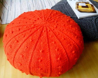 Knitted 24'' Orange Pouf - Ottoman / Crochet wool  pouf / Knit footstool