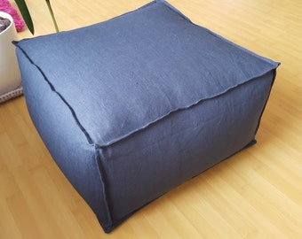 Stuffed Gray Linen pouf - ottoman / Linen ottoman / Linen footstool / Burlap