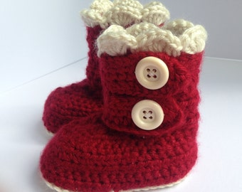 Red baby Booties.Baby Gift. Red Crochet Baby snow Boots. Baby Shoes.