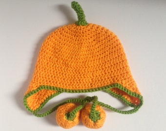 Pumpkin Hat. Baby/Toddler/childs Ear Flap Hat.