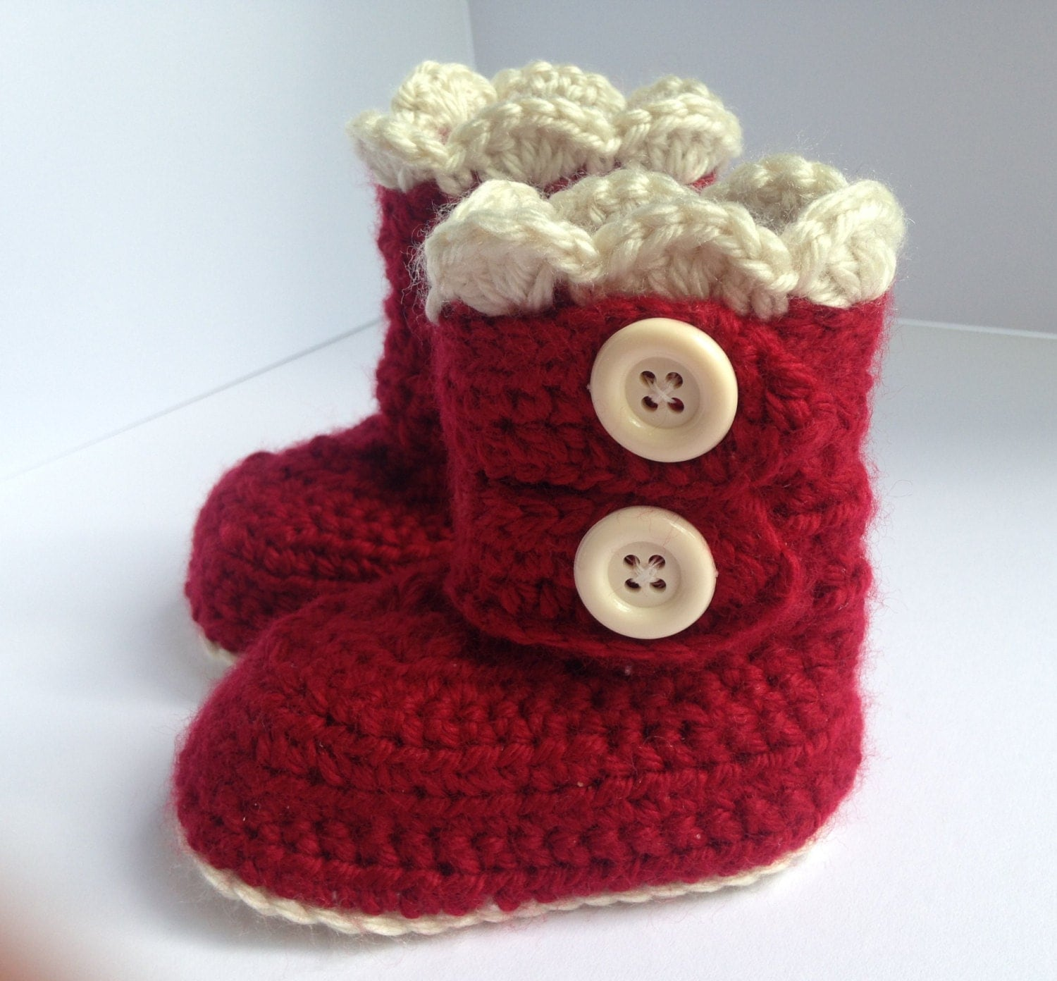 Red baby Booties Baby Gift Red Crochet Baby snow Boots Baby