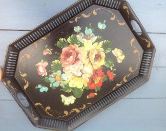 Floral Tole Painting on Black Metal Tray Vintage