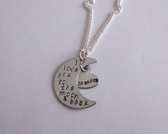 I love you to the moon and back, Mom Necklace, Grandma Necklace, Moon Necklace, Moon Heart Necklace, Handstamped Moon, Handstamped Necklace