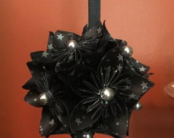 "Handmade Kusudama Origami ""Black Stars"" Christmas Ornament"