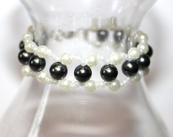 Beaded Pearl Style Bracelet - Black/White - Comes with Gift Bag