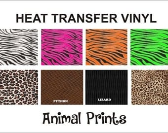 "Animal Print/Zebra CHOOSE Print Heat Transfer Vinyl! LARGE 15"" x 12"" sheet--Iron on vinyl. Works with ANY Cutter!!"