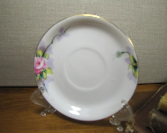 Vintage Hand Painted Saucer - Pink Rose