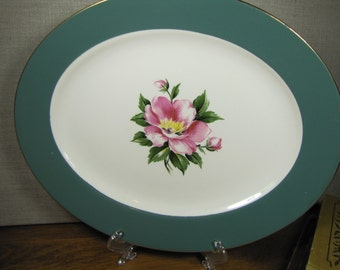 Vintage Serving Platter, Dark Green Rim - Pink Wild Rose