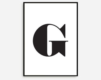 """Typography Print, Alphabet Sign, Swiss """"G"""", Typography Poster, Bedroom Wall Decor, Scandinavian Typography, Black and White. Numbers Print"""
