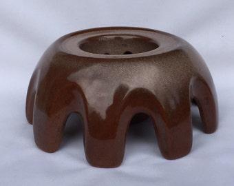 Frankoma Vintage Ceramic Teapot Warmer Stand in Brown, Vase pedestal.