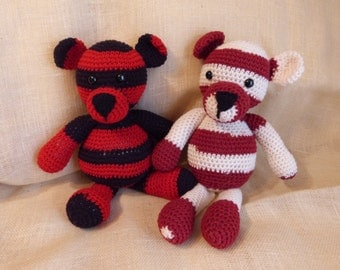 Striped black & red stuffed bear